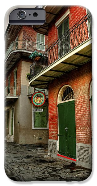 Chrystal iPhone Cases - Street Lamp at Pirates Alley Cafe iPhone Case by Chrystal Mimbs