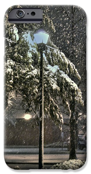 Snowy Night iPhone Cases - Street Lamp in the Snow iPhone Case by Benanne Stiens