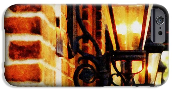 Michelle iPhone Cases - Street Lamps in Olde Town iPhone Case by Michelle Calkins