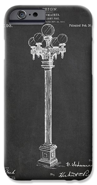 Lantern Digital Art iPhone Cases - Street Light Post Patent Drawing From 1904 iPhone Case by Aged Pixel