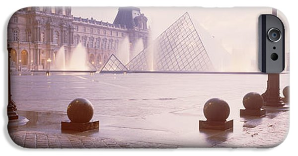 Absence iPhone Cases - Street Lights Lit Up At Dawn, Louvre iPhone Case by Panoramic Images