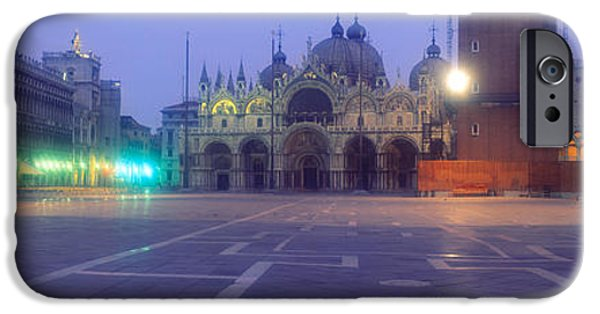 Piazza San Marco iPhone Cases - Street Lights Lit Up In Front iPhone Case by Panoramic Images
