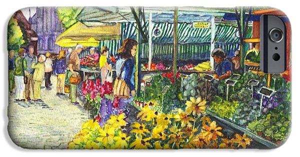 Joyful Drawings iPhone Cases - Watercolor Munster Germany Street Market  iPhone Case by Carol Wisniewski