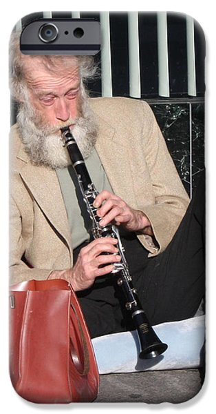 Old Man With Beard iPhone Cases - Street Musician iPhone Case by John Telfer