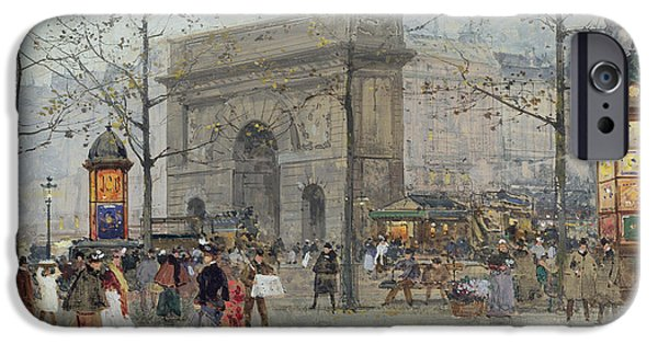 Eugene Laloue iPhone Cases - Street Scene in Paris iPhone Case by Eugene Galien-Laloue