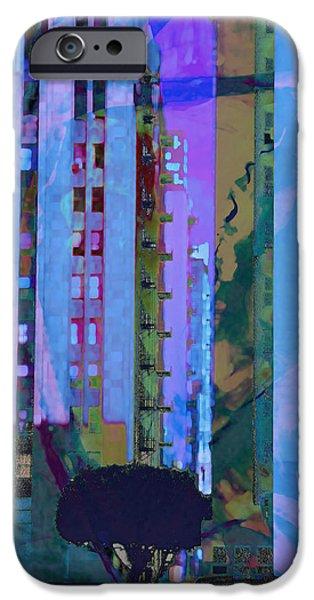Automotive iPhone Cases - Street Scene LA Blue iPhone Case by John Fish