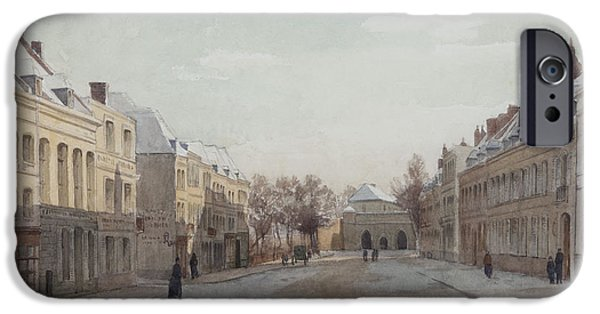 Facade iPhone Cases - Street Scene Wc On Paper iPhone Case by Henri Duhem
