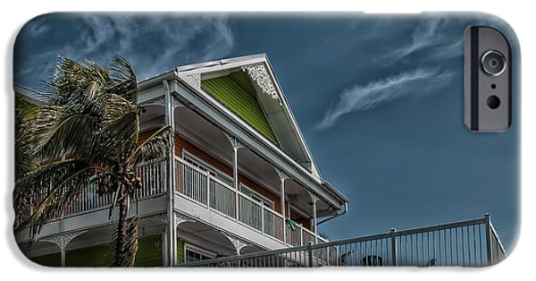 Storm iPhone Cases - Street view of Florida Style residential building iPhone Case by Hannelore Baron