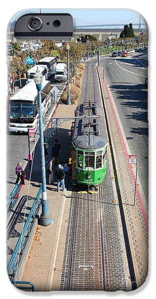 Sight Seeing San Francisco iPhone Cases - Streetcar At Pier 39 San Francisco California 5D26073 iPhone Case by Wingsdomain Art and Photography