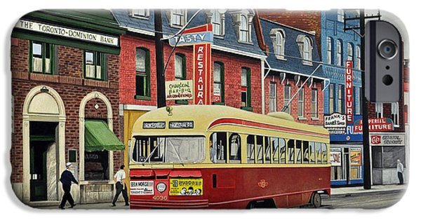 Pcc iPhone Cases - Streetcar on Queen Street 1963 iPhone Case by Kenneth M  Kirsch