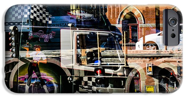 City Scape Mixed Media iPhone Cases - Streetcars and trucks iPhone Case by Toppart Sweden