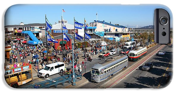 Sight Seeing San Francisco iPhone Cases - Streetcars At Pier 39 San Francisco California 5D26054 iPhone Case by Wingsdomain Art and Photography