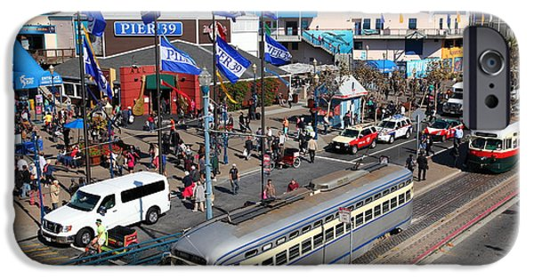 Sight Seeing San Francisco iPhone Cases - Streetcars At Pier 39 San Francisco California 5D26055 iPhone Case by Wingsdomain Art and Photography