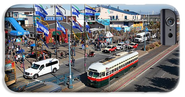 Sight Seeing San Francisco iPhone Cases - Streetcars At Pier 39 San Francisco California 5D26062 iPhone Case by Wingsdomain Art and Photography