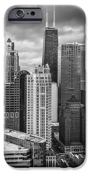 Hancock Building iPhone Cases - Streeterville From Above Black and White iPhone Case by Adam Romanowicz