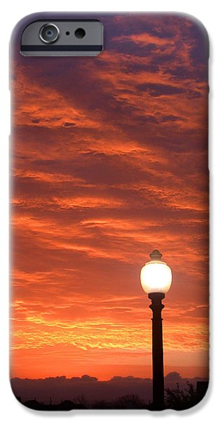 Streetlight Sunset Texas iPhone Case by Tony Ramos