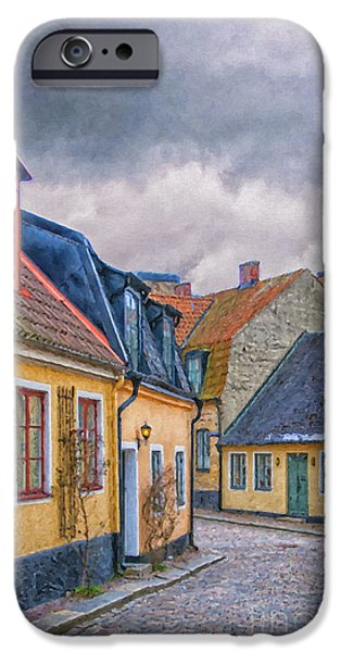 Thoroughfare iPhone Cases - Streets of lund Digital Painting iPhone Case by Antony McAulay