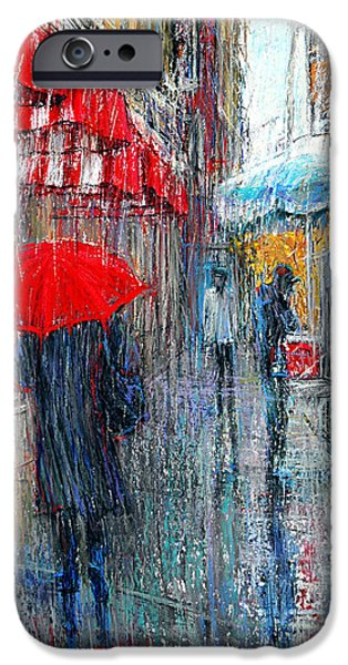 Rainy Day iPhone Cases - Streets of New York - Red Umbrella III iPhone Case by September McGee