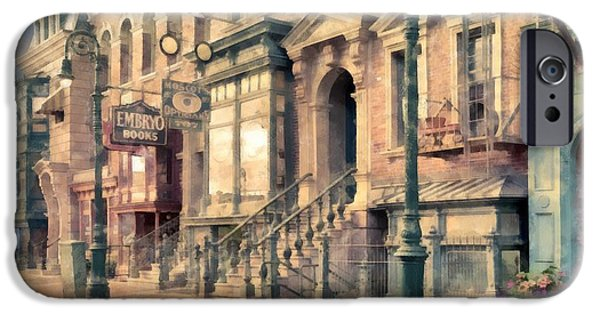 Facade iPhone Cases - Streets of Old New York City Watercolor iPhone Case by Edward Fielding