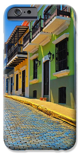 Old Digital Art iPhone Cases - Streets of Old San Juan iPhone Case by Stephen Anderson