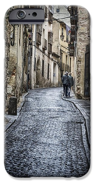 Small iPhone Cases - Streets of Segovia iPhone Case by Joan Carroll