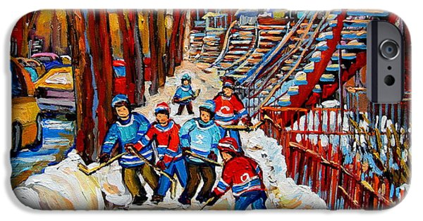 Hockey Scenes iPhone Cases - Streets Of Verdun Hockey Art Montreal Street Scene With Outdoor Winding Staircases iPhone Case by Carole Spandau