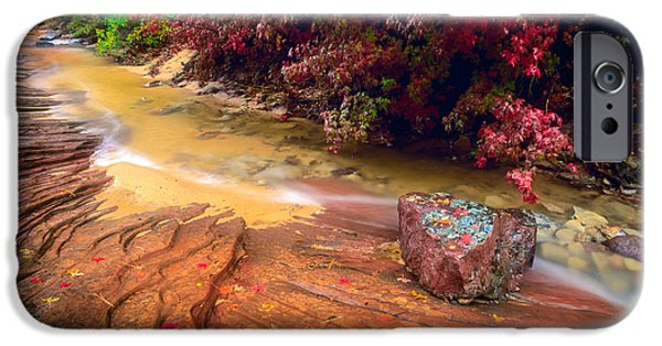 Floods Photographs iPhone Cases - Striated Creek iPhone Case by Inge Johnsson