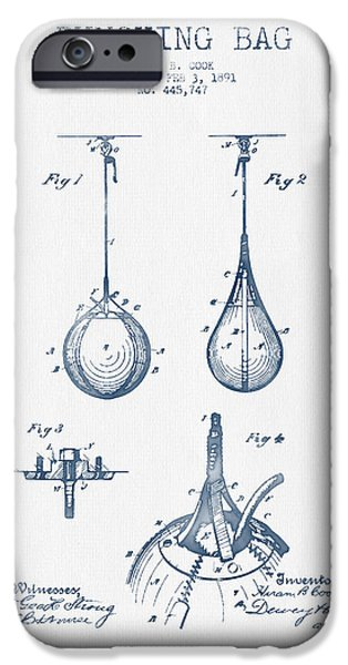 Punch Digital iPhone Cases - Striking Bag Patent Drawing from 1891  -  Blue Ink  iPhone Case by Aged Pixel