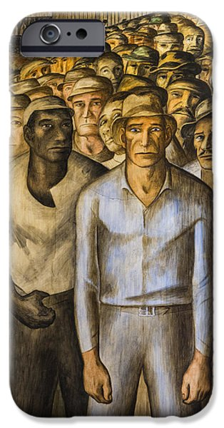 Mural Photographs iPhone Cases - Striking Miners Mural in Coit Tower iPhone Case by Adam Romanowicz