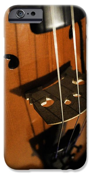 Music Pyrography iPhone Cases - Strings iPhone Case by Amber Wilson