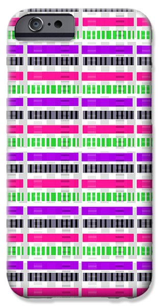 Modern Digital Art iPhone Cases - Stripe and Check iPhone Case by Louisa Hereford