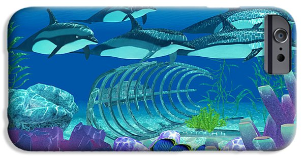 Dolphin Digital iPhone Cases - Striped Dolphin and Wreck iPhone Case by Corey Ford