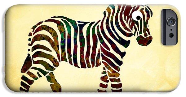 Zebra Digital Art iPhone Cases - Striped Zebra iPhone Case by Christina Rollo