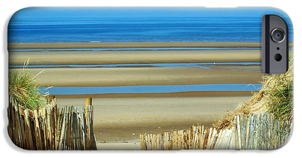 Abstract Seascape iPhone Cases - Stripes on the beach iPhone Case by Susan Tinsley