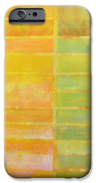 Stripes Paintings iPhone Cases - Stripes Yellow iPhone Case by Jane Davies