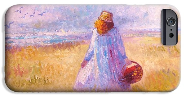 Etc. Paintings iPhone Cases - Stroll by the Sea iPhone Case by Martha Sterling