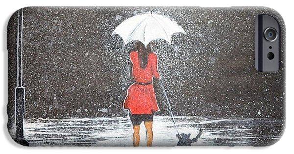 Night Lamp iPhone Cases - Stroll in the Rain iPhone Case by Manjiri Kanvinde