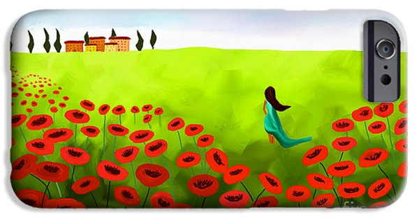 Floral Digital Art Digital Art iPhone Cases - Strolling Among The Red Poppies iPhone Case by Anita Lewis