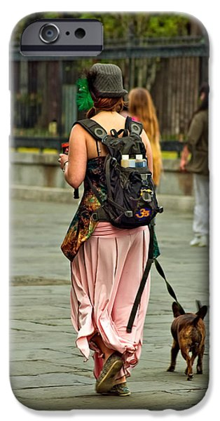Dog Walking iPhone Cases - Strolling in Jackson Square iPhone Case by Steve Harrington