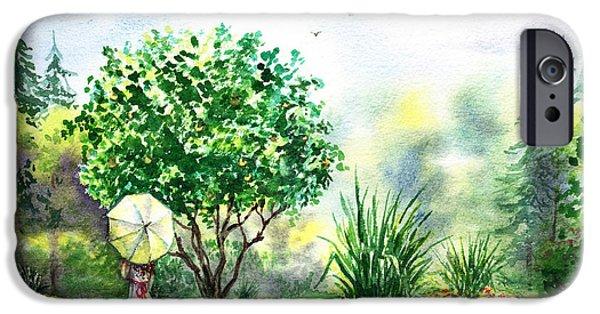 Umbrella iPhone Cases - Strolling In The Garden iPhone Case by Irina Sztukowski