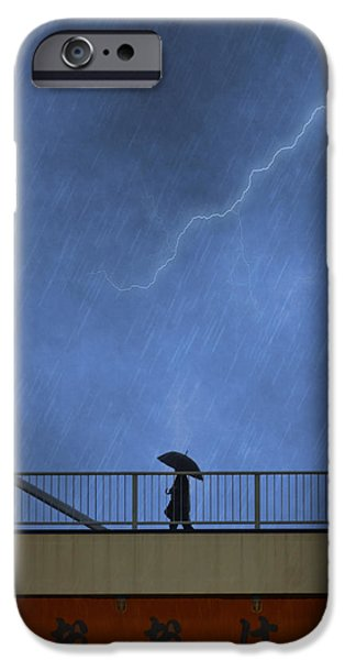 Rain iPhone Cases - Strolling in the Rain iPhone Case by Juli Scalzi