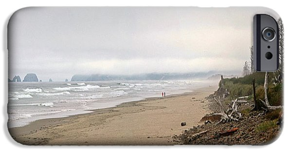 Couple Pyrography iPhone Cases - Strolling the Oregon Coast iPhone Case by DUG Harpster