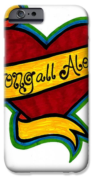 All American Drawings iPhone Cases - Strong All Along iPhone Case by Catherine Peters