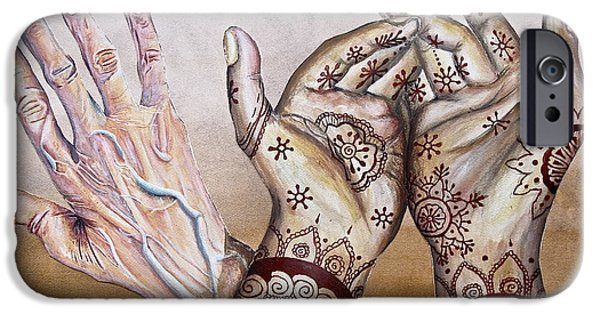 Henna iPhone Cases - Strong Hands iPhone Case by Hillary  Dennison