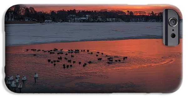 Winter In Maine iPhone Cases - Stroudwater Crossing Sunrise iPhone Case by Stroudwater Falls Photography