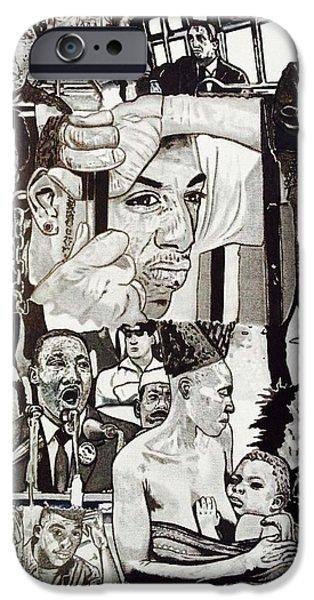 Obama Drawings iPhone Cases - Struggle Thou Art Forgiven iPhone Case by Demetrius Washington