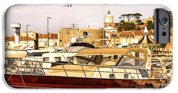 Boat iPhone Cases - St.Tropez harbor iPhone Case by Elena Elisseeva