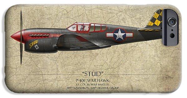 Warhawk iPhone Cases - Stud P-40 Warhawk - Map Background iPhone Case by Craig Tinder