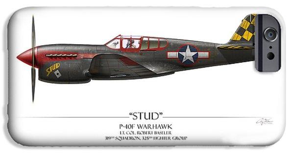 Warhawk iPhone Cases - Stud P-40 Warhawk - White Background iPhone Case by Craig Tinder