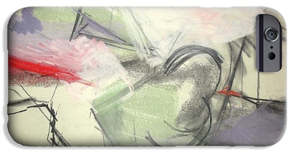 Abstract Expressionism Pastels iPhone Cases - Study 4 with a Model iPhone Case by  Tolere